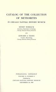 Cover of: Catalog of the collection of meteorites in Chicago Natural History Museum