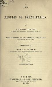 Cover of: The results of emancipation