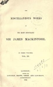 Cover of: Miscellaneous works: [Edited by R.J. Mackintosh]