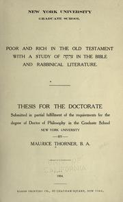 Cover of: Poor and rich in the Old Testament with a study of Tsadakah in the Bible and the Bible and rabbinical literature