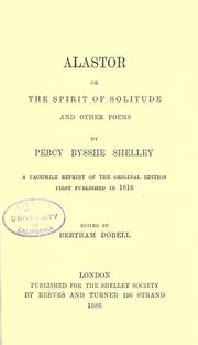 Cover of: Alastor: or, The spirit of solitude and other poems
