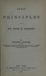 Cover of: First principles of a new system of philosophy