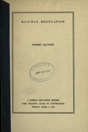 Cover of: Railway regulation