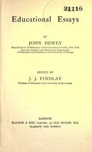 Cover of: Educational essays