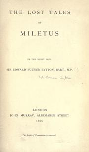 Cover of: The lost tales of Miletus