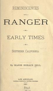 Reminiscences of a Ranger by Horace Bell