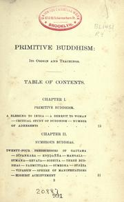 Cover of: Primitive Buddhism, its origin and teachings