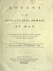 Essays on the intellectual powers of man by Reid, Thomas
