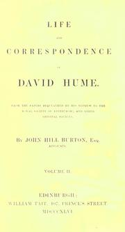 Life and correspondence of David Hume by John Hill Burton