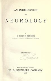 An introduction to neurology by C. Judson Herrick