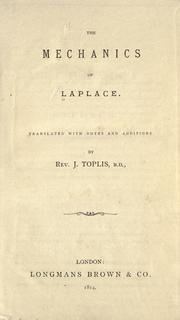 Cover of: The mechanics of Laplace