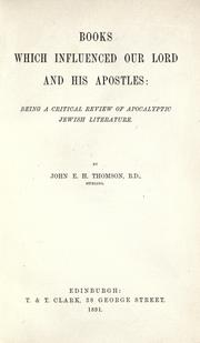 Cover of: Books which influenced Our Lord and His apostles