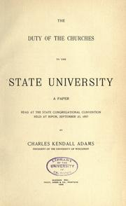 Cover of: The duty of the churches to the state university ..