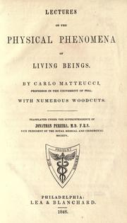 Cover of: Lectures on the physical phenomena of living beings