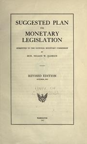 Cover of: Suggested plan for monetary legislation