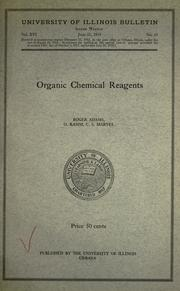 Cover of: Organic chemical reagents