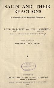 Salts and their reactions by Leonard Dobbin
