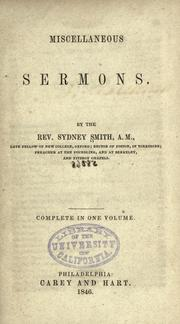 Cover of: Miscellaneous sermons