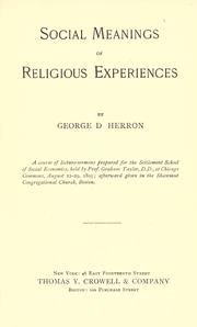 Cover of: Social meanings of religious experiences
