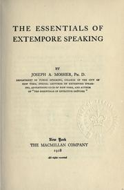 The essentials of extempore speaking by