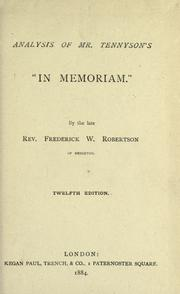 "Cover of: Analysis of Mr. Tennyson's ""In memoriam"""