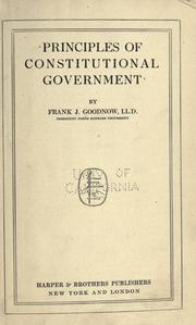 Cover of: Principles of constitutional government
