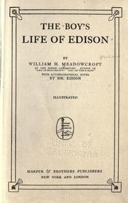 The boy's life of Edison by Meadowcroft, Wm. H.