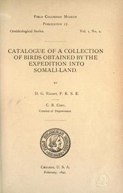 Cover of: Catalogue of a collection of birds obtained by the expedition into Somali-land