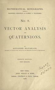 Cover of: Vector analysis and quaternions