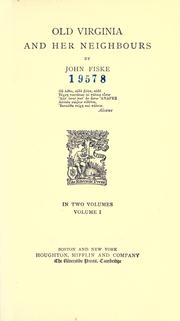 Cover of: Old Virginia and her neighbours
