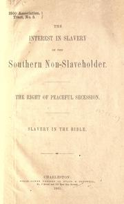 The interest in slavery of the southern non-slaveholder by J. D. B. De Bow