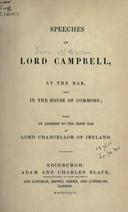Cover of: Speeches at the Bar, and in the House of Commons