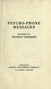 Cover of: Psycho-phone messages