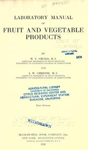 Cover of: Laboratory manual of fruit and vegetable products