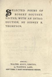 Cover of: Selected poems of Robert Southey: Edited with and introd. by Sidney R. Thompson.