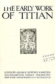 Cover of: The early work of Titian