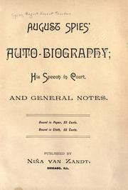 Cover of: August Spies' auto-biography