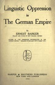 Cover of: Linguistic opression in the German Empire