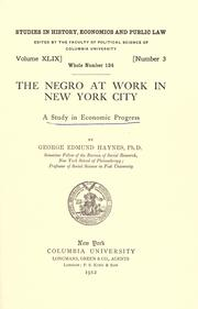 Cover of: The Negro at work in New York city
