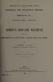 Cover of: Simon's hot-air machine for the treatment of cotton seed against pink boll worm