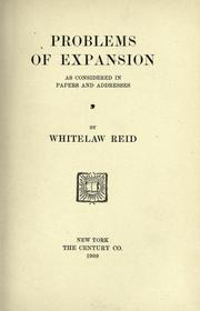 Cover of: Problems of expansion, as considered in papers and addresses