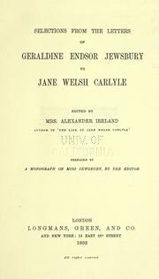 Cover of: Selections from the letters of Geraldine Endsor Jewsbury to Jane Welsh Carlyle