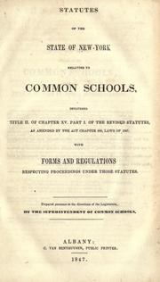 Cover of: Statutes of the state of New-York relating to common schools
