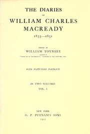 Cover of: The diaries of William Charles Macready, 1833-1851