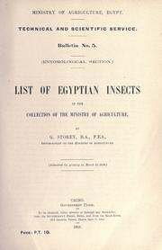 Cover of: List of Egyptian insects in the collection of the Ministry of agriculture