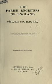 Cover of: The parish registers of England. | J. Charles Cox