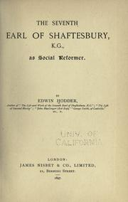Cover of: The seventh Earl of Shaftesbury, K.G., as social reformer
