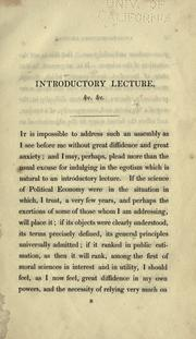 Cover of: An introductory lecture on political economy