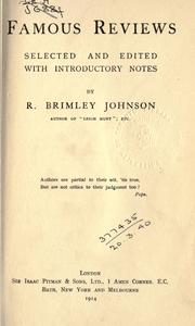 Famous reviews by R. Brimley Johnson