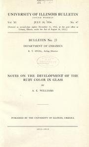 Cover of: Notes on the development of the ruby color in glass